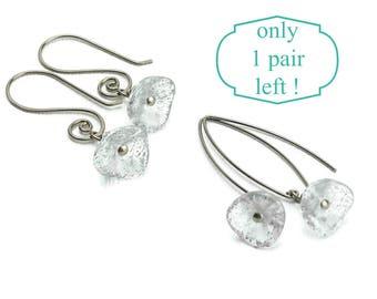 Niobium Earrings Silver Specked Flower Niobium Wire Earrings, Czech Glass Trumpet Flowers on Arch or Swirl Hypoallergenic Earwires