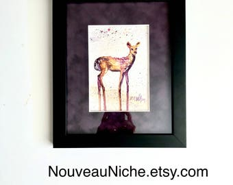 Housewarming Gift Unique Art Gifts Original Watercolor Deer Fawn Painting Colorful Deer Art Inspirational Gifts Wildlife Decor OOAK Gifts
