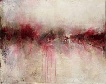 2012-08 original abstract acrylic painting art 20x16 white black pink brown magenta horizon