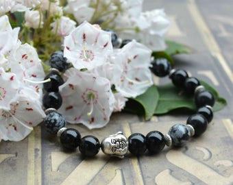 Buddha Black Obsidian Stretch Energy Bracelet Yoga Mala Beads Wrist