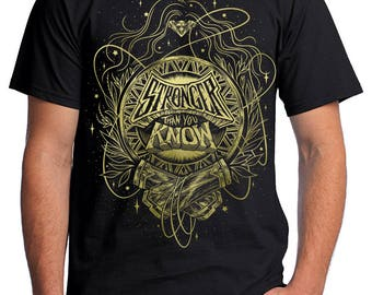 Wonder Woman T-Shirt Pre-order // Stronger Than You Know Shirt // Hand Screen Printed // Classic Black and Gold