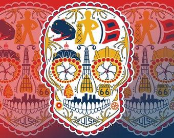 Historic Tulsa Sugar Skull Vinyl Sticker