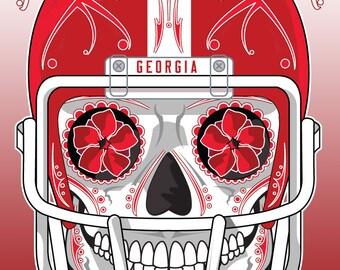 Georgia Bulldogs Sugar Skull 11x14 Print
