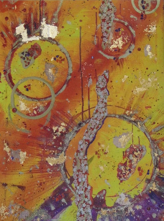 Yellow & Orange Abstract Print