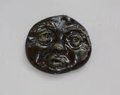 Ceramic moon face pendant handmade moon pendant clay face art bead organic earthy artisan jewelry components supplies potterygirl1