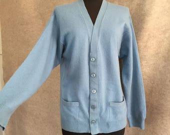 RESERVED...Vintage 60's Light Blue Cardigan Sweater, Blue CASHMERE Cardigan, Size Medium  V Neck, Rockabilly, Pin Up, Retro, 50's Style