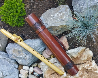 Tooled Leather Whistle / Flute Case