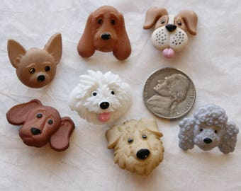7 Dog Buttons, Dog faces Embellishments, Shank (AC 59)