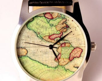 ON SALE 25% OFF World map watch, antique map of America