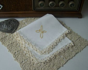 Religious Handkerchief, Hanky, Hankie, Cross, Baptism, First Communion,  Hand Crochet, Lace, Personalized, Custom, Ready to ship