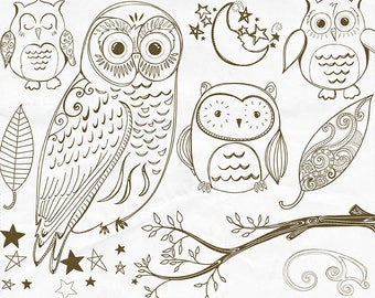 Owl Digital Stamp Outline, Cute Woodland Owl Line Art, PNG Doodle + Photoshop Brush, Owl Hand Embroidery Clip Art Pattern Download