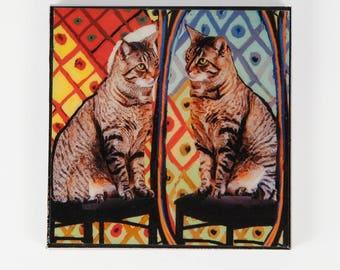 Refrigerator Magnet, Cat Lover Gift, Fridge Magnets, Pablo Picasso, Tabby Cat, Kitchen Magnets, Cat Artwork, Deborah Julian