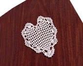 Lace Heart Filet Crochet Doily, Petite Victorian Decor, Valentine Heart, Gift For Her, New, Romantic Decor Table Accessory