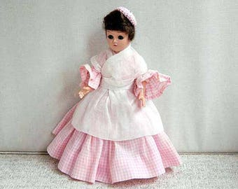 Marcie Doll, Colonial Dress Doll, Pink Gingham, White Apron, Cape,Lace Undies, Crochet Hat, Sleep Eyes, Vintage 1950s, Gift for Girls