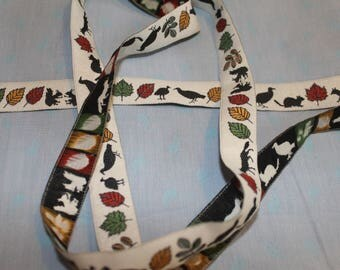 Adorable fall creature  vintage embroidered ribbon trim