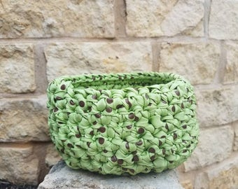 Upcycled Crochet Catch All Basket Recycled Round Storage Basket Organizer Small Green
