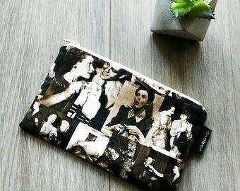 Sale - Retro Knitting Bag - Retro Pouch - Make Up Bag - Gadget Zipper Bag