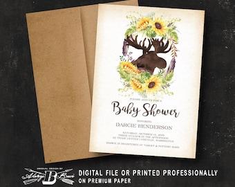 Rustic Baby Shower Invitation | Woodland Invitation | Printed Invitation or Printable Digital File | Boho Sunflower Forest Floral Moose Fall