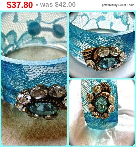 Summer Sale Something Blue Vintage Bangle-Wide Cuff Bracelet