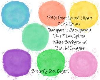 Watercolor Paint Splash Clip Art, 7 PNG Transparent plus 7 JPG White Background, 300 dpi, Instant Digital Download