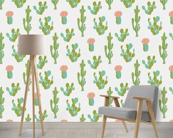 Removable Wallpaper - Cactus, Tribal, Southwest, Aztec, Cactus Flower, Woven Nursery Wallpaper, Peel and Stick Wallpaper with Ocean Waves