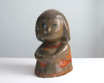 Rare Gompers Saijo Papier Mache Folk Art Girl Sculpture