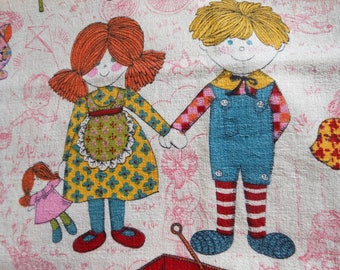 Barkcloth Raggedy Ann Novelty Fabric 2 yards & Curtains Vintage at Quilted Nest