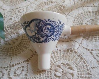 Delft Blue Porcelain Funnel Wooden Handle Vintage at Quilted Nest