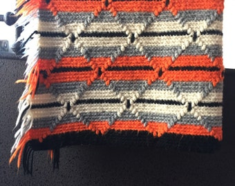 Fall Colors Knitted Wool Throw