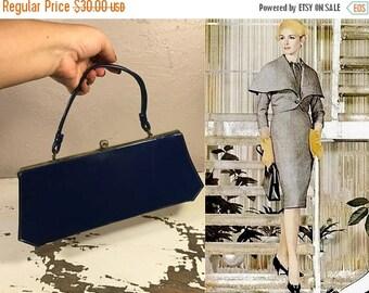 Anniversary Sale 35% Off Fabulous I'll Spend Money - Vintage 1950s Navy Blue Vinyl Faux Patent Leather Handbag Purse