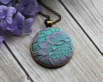 Pastel Jewelry, Mint And Lavender Bridesmaid Gift, Purple And Green Floral Lace Pendant