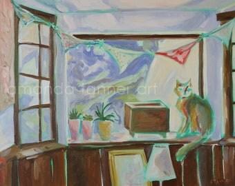 Oil Painting Art Print Cat Painting Oil Painting Interior Painting Wall Art painting 8x10 Print