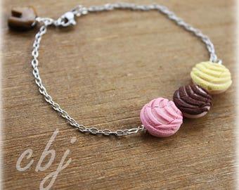 Pan Dulce Bracelet, Concha Bracelet, Sweet Bread, Concha polymer clay Bracelet, Polymer clay conchas