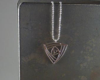 Arcadia. Long Silver Geometric Necklace. 16k white gold plated. modern. delicate. layering. minimal. triangle.