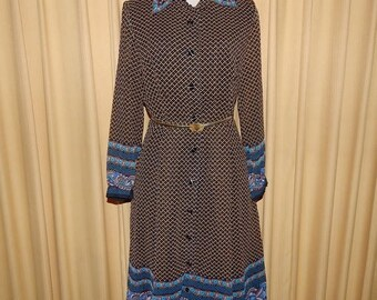 ON SALE FEMINA Rasonna Polka Dots & Paisley Chiffon Dress Bust 40 Waist up to 34