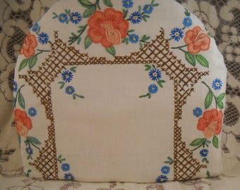 Beautiful Tea Cozy Vintage Embroidery Vivid Colors Upcycled