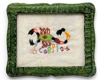 Scorpio Embroidered Scorpion Embroidery Green Snakeskin Frame Vintage Zodiac Sign
