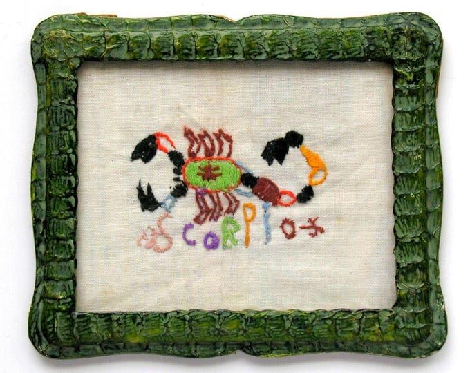 Scorpio Embroidered Scorpion Embroidery Green Snakeskin Frame Vintage Zodiac Sign
