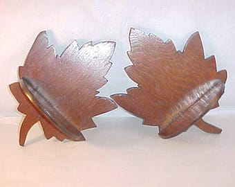 2 Small Maple Leaf Wood Shelves