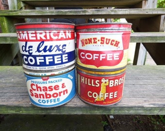 4 vintage Coffee cans half size old advertising tin can Wedding farmhouse vase supply storage Hills Bros. Chase Sanborn American Deluxe