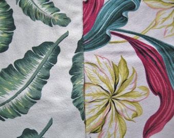 5 Pieces Vintage Bark Cloth, 2 Patterns of Tropical Leaf Prints