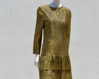Vintage 70's GOLD metallic dress Stirling Cooper London small size gold metal thread in acetate bodice disco party cocktail dress small