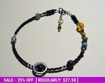 June SALE! MiniVerse - We Love Pluto Edition - Solar System Anklet - Proportional Distances in Glass, Stone and Shell (10.5in)