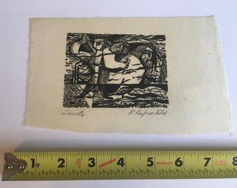 Vintage Antique 1949 ROBERT KNIPSCHILD Art Wood Print Listed Modern Artist SOCIETY