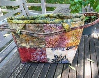 Copper and Green Medium Batik Handbag/Shoulder Bag