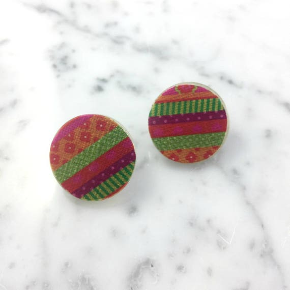 Resin earrings, color stud, pink, green, orange, unique, handmade, sold, earring, hypoallergenic stud