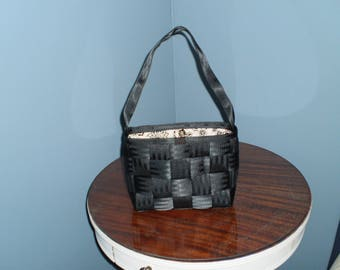 Black Purse w/ blk & white quilted lining