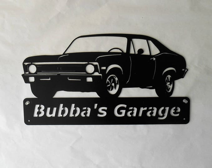1968-72 Chevy Nova SS- Personalized Metal Sign- Man Cave- Classic Car - Muscle Car -Garage Sign -Satin black-Super Sport