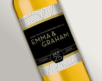 Customized Wine Labels • Elegant Modern Geometric Patterns