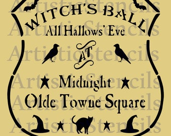 STENCIL  Halloween Witch's Ball  12X11.3